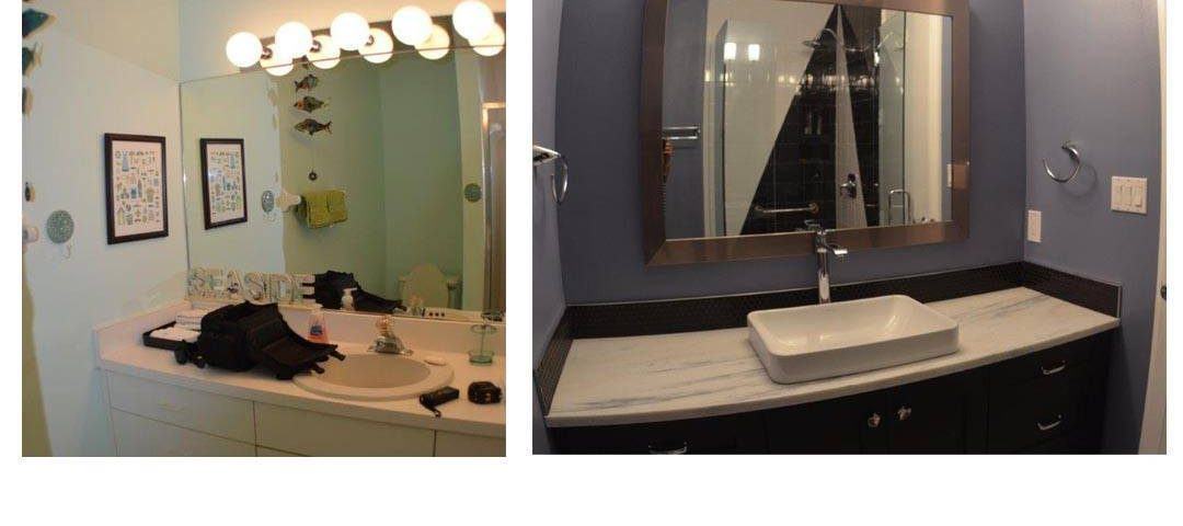 Before and After Image of fully remodeled bathroom